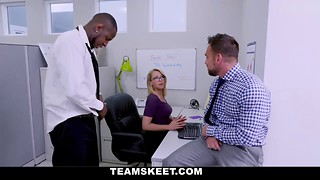 Sexy office girl is having fun with a black boss