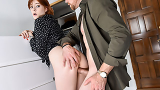 Redhead girlfriend is seducing a horny house owner
