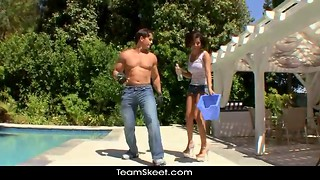 Muscular pool cleaner and a passionate long-legged brunette