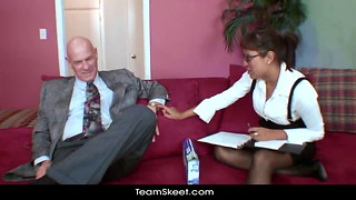 Playful girlfriend gives her boss a very passionate blowjob