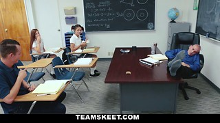 Redhead schoolgirl gives her teacher a passionate blowjob
