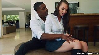 Adorable white angel is having fun with a big black cock