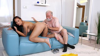 Cute tanned hottie in red lingerie fucks with a grandpa
