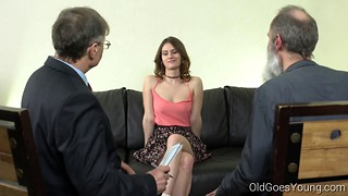 Two lucky old men are fucking with a young slut