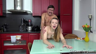 Dirty-minded old man fucks with a slutty young girlfriend