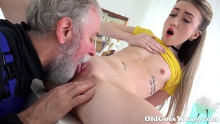 Bearded old teacher pounds with a stunning young chick