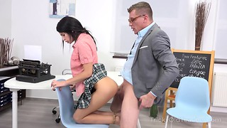 Small-tit brunette and a filthy teacher have sex