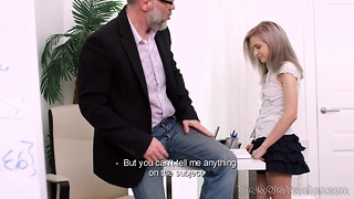 Very hot and slutty schoolgirl fucks with her teacher