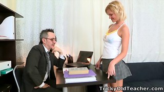 Sweet hottie takes care of her professor's huge sausage