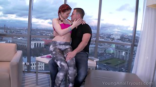 Redhead hottie presents her ass for anal sex